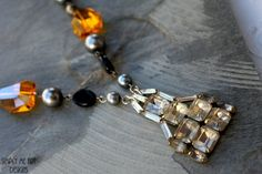 This is a Gorgeous One of a Kind Necklace created using, Vintage Art Deco Rhinestone, Glass Bead and Pearls~ Easy off and on lobster clasp finishes