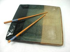 Black and Tan Ceramic Square Plate Ceramic by MagicMoonPottery  Square plate pottery