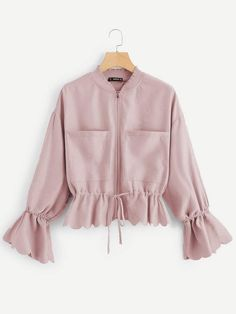 To find out about the Pocket Front Drawstring Waist Scalloped Edge Jacket at SHEIN, part of our latest Jackets ready to shop online today! Crop Top Outfits, Cute Casual Outfits, Moda Disney, Hijab Fashion, Fashion Dresses, Designs For Dresses, Girls Fashion Clothes, Trendy Tops, Stylish Dresses