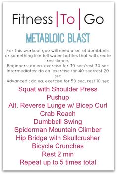 Metabolic & Strength Workout Archives - Fitness To Go Wellness Fitness, Fitness Tips, Fitness Motivation, Health Fitness, Fitness Fun, Tabata, Interval Workouts, At Home Workout Plan, At Home Workouts