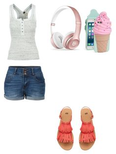 """Cute summer outfit"" by fungiral on Polyvore featuring Free People, LE3NO, Beats by Dr. Dre and Kate Spade"