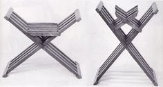 Small X-chair made from walnut in seating and folding position. The folded image clearly shows the construction of the chair with the four (iron) pins though the laths.  Pins for this chair type can also be wooden dowels. Museum fur Angewandte Kunst, Vienna, Austria.