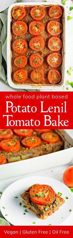 INCREDIBLE Potato Lentil Tomato Bake! Delicious layers of potatoes, lentils, and tomatoes! #vegan #glutenfree #oilfree #lentil #plantbased #refinedsugarfree #healthy #monkeyandmekitchenadventures #recipe