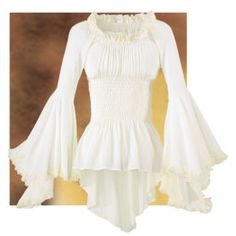Handkerchief Blouse Handkerchief sleeves and hems create the festive look of this ensemble. Crinkle-textured Blouse flatters with its gathered waist, lace-trimmed neck, and sleeves. 65% poly/35% rayon. Dry clean. Made in USA. Colors: Ivory; Sizes: S (10), M (12), L (14), XL (16), 1X (18). **** Handkerchief Blouse Item #:P9251 Price:$59.95
