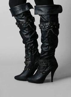 studded strap high heel boot
