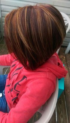 Red Balayage on Inverted Bob