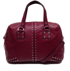 MICHAEL KORS Large Leather Astor Studded Satchel in Silver / Cinnabar / Deep Red  Save: $98.01 at The Bagtique Sale Price: $269.99