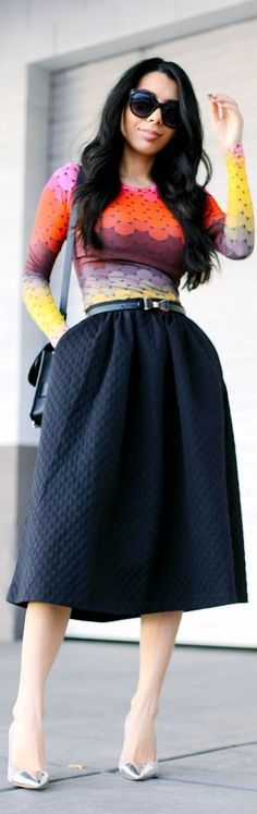 Dotted  #MultiColoured Dotted shirt #Navy Midi Skirt #Silver Leather Pumps