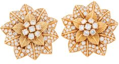 Van Cleef & Arpels Diamond and Gold Blossom Earclips