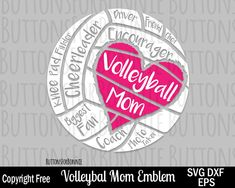 Volleyball Mom SVG, Volleyball Mom, digital cutting file, cricuit, biggest fan svg, mom svg, vector, emblem, logo, shirt design, svg by ButtonsForBonnie on Etsy