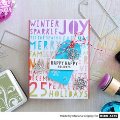 Stenciled holiday card by Mariana Grigsby for Hero Arts