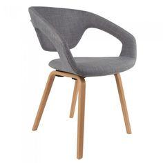 Sillón nórdico tapizado en gris y patas de madera Flexback