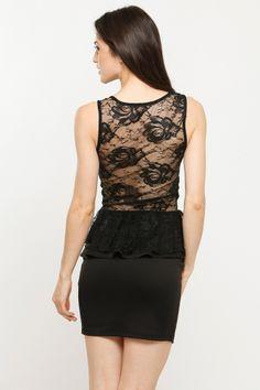 Lace Inset Peplum Dress - Cicihot.com