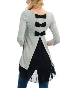 Look what I found on #zulily! Celeste Heather Gray Back Bow-Accent Boatneck Hi-Low Top by Celeste #zulilyfinds
