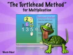 """Multiplication Video- """"The Turtlehead Method"""":  Show this FUN Multiplication video to 3rd-5th graders as they are learning to multiply by 2-digit numbers! The """"Turtlehead Method"""" provides a simple and entertaining way to recall the steps involved in solving multi-digit Multiplication problems. This featured Factivation!® Teacher Tube video also illustrates the importance of mastering single-digit Multiplication facts, as students learn how to apply them to larger problems. www.factivation.co..."""