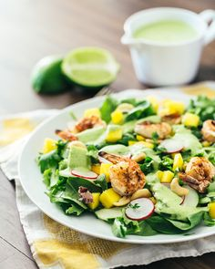 Tropical Mango Salad with Creamy Cilantro Lime Dressing + Grilled Shrimp | A Couple Cooks