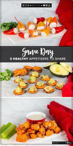 3 healthy (or almost healthy) game day appetizer for your next Super Bowl party. It includes Cauliflower Buffalo Bites, Stuffed Mini Bell Peppers, and Sweet Potato Avocado Bites.