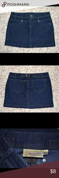 """Princess Vera Wang Denim Mini Skirt Practically new, unworn condition. Mini skirt is made of thick, high quality denim. 99% cotton, 1% spandex. Has zip and button closure and buckle in back. 30"""" waist/hip - 13"""" long. Vera Wang Skirts Mini"""