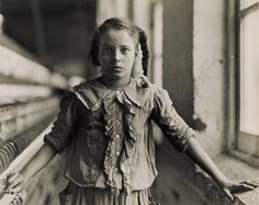 """""""Adolescent Girl, a Spinner, in a Carolina Cotton Mill"""". Lewis Hine. 1908. Image Princeton UAM"""