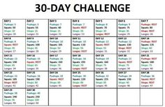 30 day push-up, squat, sit-up, lunge challenge (Note: does not link to original post; I can't find original source.)