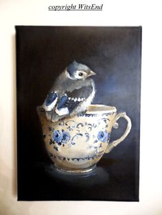 Bird Teacup painting original still life Bluejay Baby by 4WitsEnd