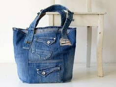 jeansstas, recycled jeans tote bag with keycord, everyday bag, canvas bag, beach bag, casual shoulder bag by Lowieke on Etsy