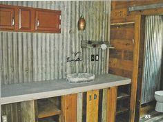 I Love The Corrugated Tin Backsplash I Wouldn T Hang Cabinets Though