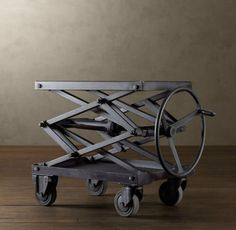 Industrial Retro: Adjustable-Height Metal Scissor-Lift Table