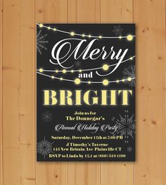 Merry and Bright invitation, Holiday Party Invitation, Christmas Party Invitation, Winter Party Invitation, Merry and Bright White Christmas by JMCustomInvites on Etsy