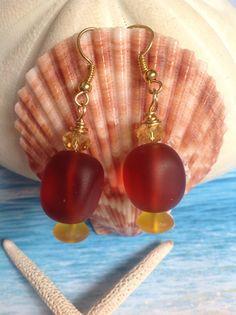 Sea glass earrings-recycled beach glass earrings-cultured Seaglass  brown bottle earring-frosted sea glass jewelry-Amber colored sea glass