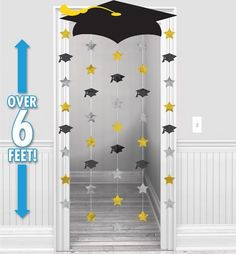 Black, Gold & Silver Graduation Doorway Curtain 39in x 66in - Party City