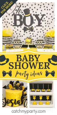 Check out this cute little man baby shower! The dessert table is fantastic! See more party ideas and share yours at CatchMyPartyy.com #catchmyparty #partyideas #littelmanbabyshower #babyshower #boybabyshower