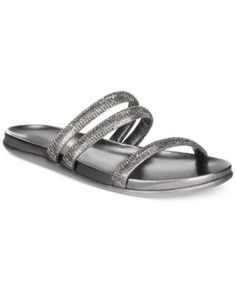 Kenneth Cole Reaction Slim Shotz Flat Sandals - Silver 6M