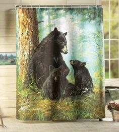 Northwoods Bathroom Bear Shower Curtain By Collections Etc: Amazon.com: Home & Kitchen