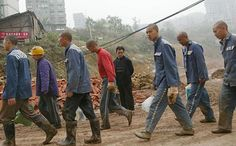 """SCMP: """"China turns dark page of history, puts end to labour camps"""". Picture: Prisoners perform manual labour in Chongqing. Photos: SCMP Pictures"""