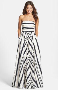 Black, White & Silver Striped Maxi Dress