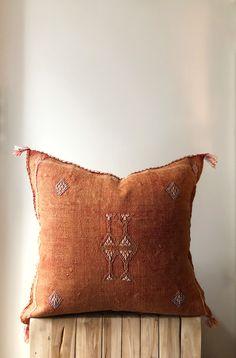Burnt Orange Cactus silk pillow with Tassels. x Australia cushions. Boho Cushions, Throw Cushions, African Mud Cloth, Silk Pillow, Rust Color, Soft Furnishings, Burnt Orange, Couture, Decorative Throw Pillows