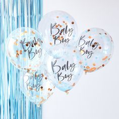 5 Blue Baby Boy Confetti Balloons, Blue Baby Shower Decorations, Rose Gold Confetti Baby Boy Balloons, New Baby Boy Balloons, Baby Boy Party Baby Shower Azul, Idee Baby Shower, Baby Boy Balloons, Baby Shower Balloons, 5 Balloons, Gold Confetti Balloons, Colourful Balloons, Baby Shower Decorations For Boys, Boy Baby Shower Themes