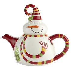 Pier 1 Snowman Teapot.... I love seasonal teapots and kitchenware period!
