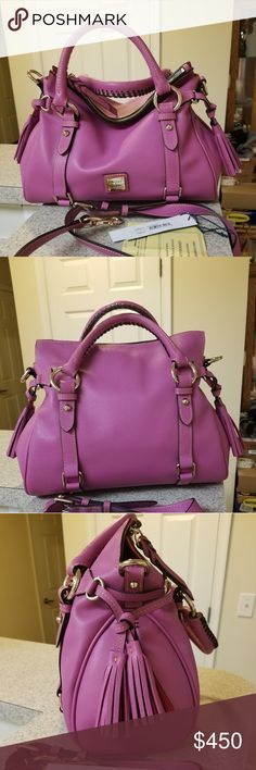 Nwt Dooney & Bourke Calf Satchel in Orchid Nwt Dooney &Bourke Calf Satchel in Orchid.  Comes with dust bag, registration card and tags. Never carried just sitting in my closet with my collection.   Measurements L13 x H8 x W5.75 This is the size small. Comes from a smoke and pet free home.  If you can purchase this item elsewhere then please do. Pleaae do not comment on my price as this is my bag, my listing.   Thank you for stopping by 😊 Dooney & Bourke Bags Satchels