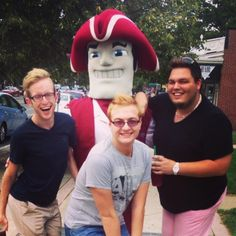 These seniors and Sam the Minuteman have style in Amherst Center!