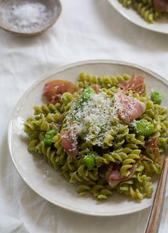 Arugula Goat Cheese Pasta with Fava Beans with Prosciutto // www.acozykitchen.com