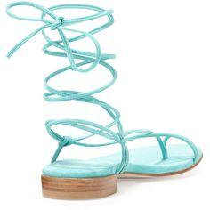 Stuart Weitzman Nieta Suede Lace-Up Sandal ($350) ❤ liked on Polyvore featuring shoes, sandals, stuart weitzman sandals, lace up flats, toe-ring sandals, ankle strap flat sandals and flat strap sandals