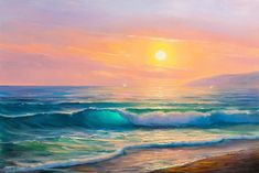 The last wave Stretched Canvas 15811 Find beautiful Bedroom Art in a huge variety of styles and size Seascape Paintings, Landscape Paintings, Beach Paintings, Bob Ross Paintings, Hawaiian Art, Wave Art, Beach Art, Beach Sunset Painting, Sunrise Painting