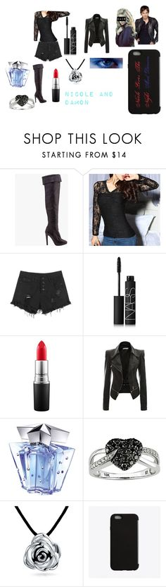 """""""Nicole Collins and Damon Salvatore"""" by catierollins on Polyvore featuring Giuseppe Zanotti, NARS Cosmetics, MAC Cosmetics, Thierry Mugler, Ice, Bling Jewelry, C6, women's clothing, women and female"""