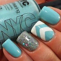Teal manicure with white & teal chevron accent nail & silver sparkle accent nail
