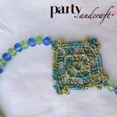 Crochet necklace Swarovski and cotton @Partyandcraft