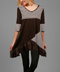 Loving this Brown & White Patchwork Sidetail Tunic on #zulily! #zulilyfinds
