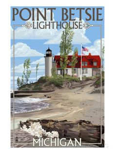 Point Betsie Lighthouse, Michigan Prints by Lantern Press at AllPosters.com