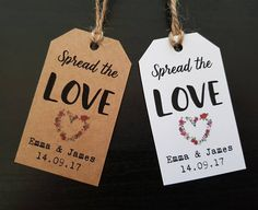 Spread the Love Tags Jam Labels Wedding Favour Jam Tags